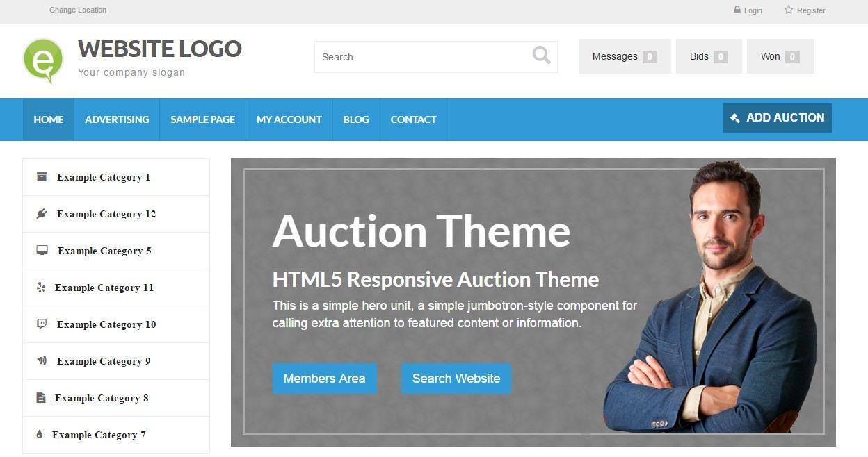 Online Auction Theme PremiumPress