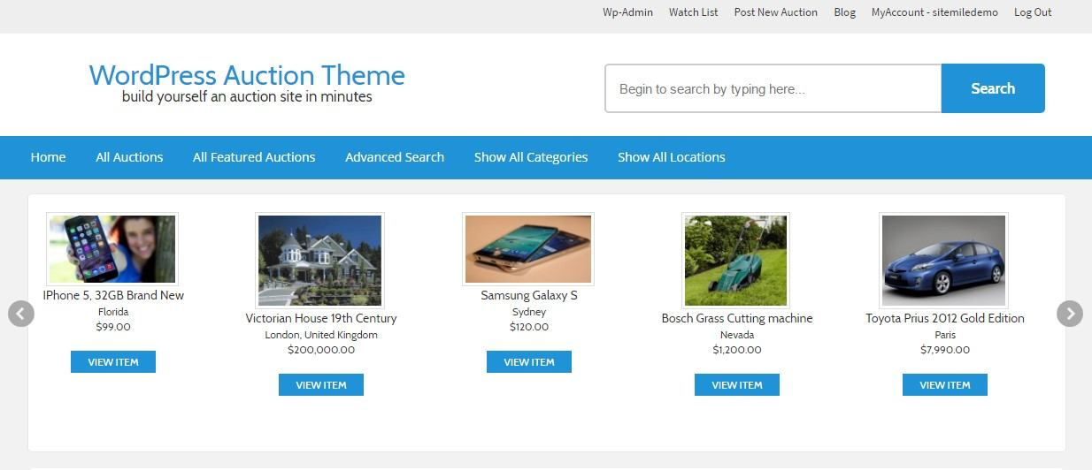 Responsive WordPress Auction Theme
