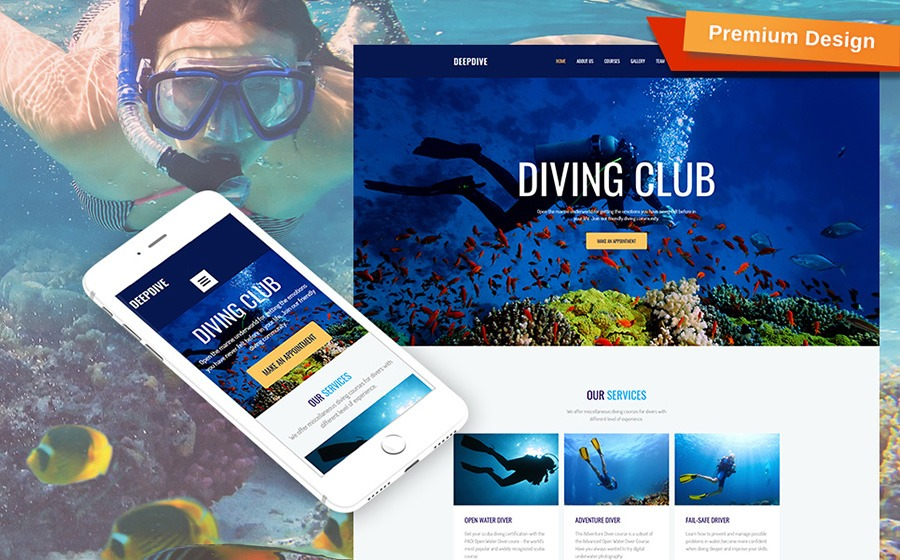 Diving Moto CMS 3 Template