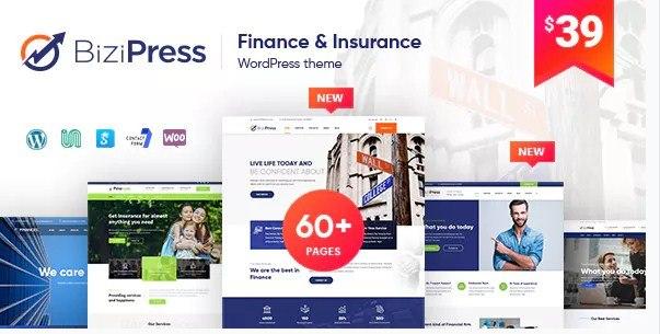 BiziPress Finance Insurance Agency WordPress Theme