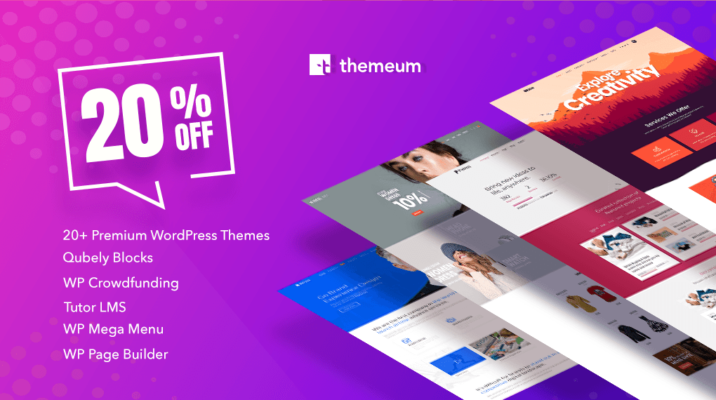 Themeum Coupon Code – 20% OFF on all Products.